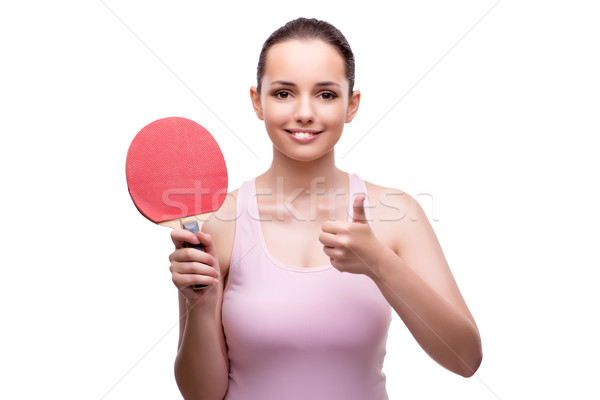 Young woman with table tennis racquet isolated on white Stock photo © Elnur