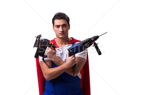 スーパーヒーロー 孤立した 白 男 ホーム ストックフォト © Elnur