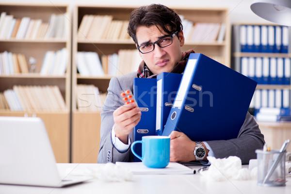 Doente doente empresário escritório homem trabalhar Foto stock © Elnur