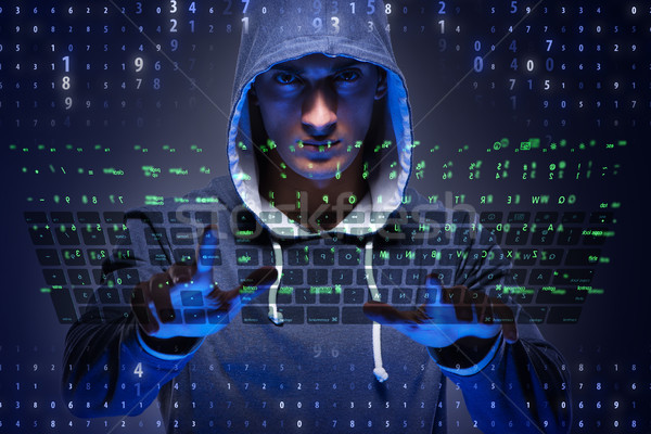 Young hacker in cyber security concept Stock photo © Elnur
