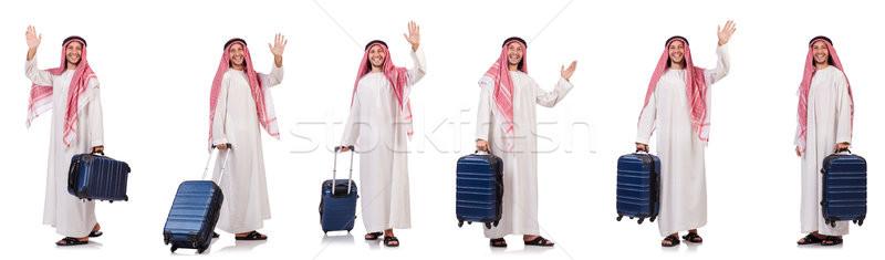 Árabe homem bagagem branco negócio fundo Foto stock © Elnur