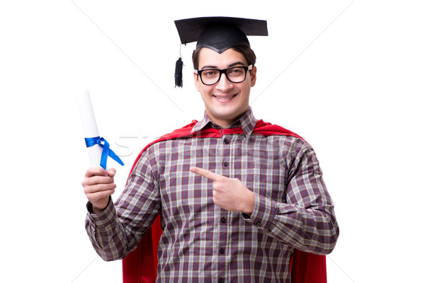 Super hero student graduating wearing mortar board cap isolated  Stock photo © Elnur