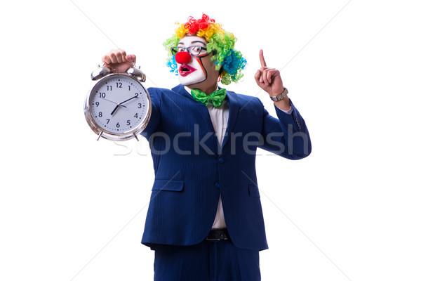 смешные клоуна бизнесмен будильник изолированный белый Сток-фото © Elnur