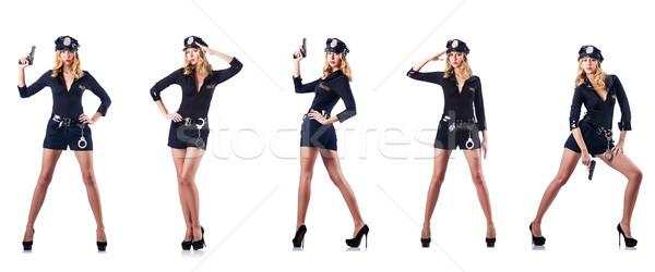 женщину полицейский изолированный белый эротического военных Сток-фото © Elnur