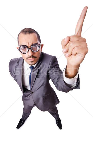 смешные бизнесмен изолированный белый фон костюм Сток-фото © Elnur