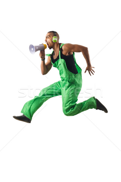 Construction worker jumping and dancing Stock photo © Elnur