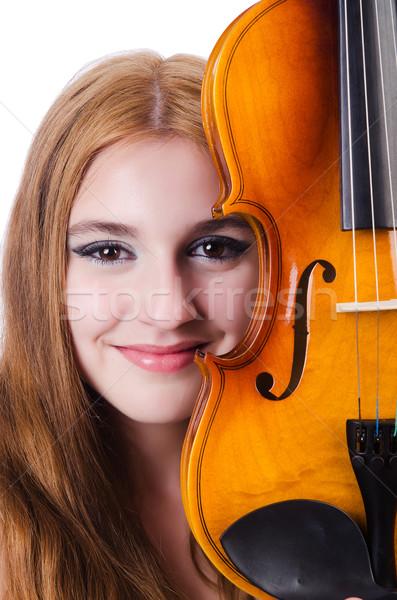 Fiatal hegedű játékos izolált fehér nő Stock fotó © Elnur