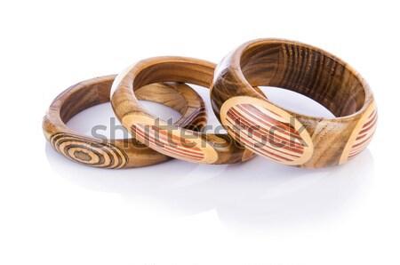Bratara izolat alb lemn lanţ Imagine de stoc © Elnur