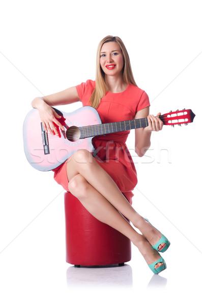 Femminile chitarrista isolato bianco musica party Foto d'archivio © Elnur