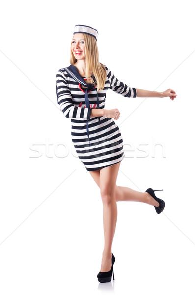 женщину моряк изолированный белый улыбка моде Сток-фото © Elnur