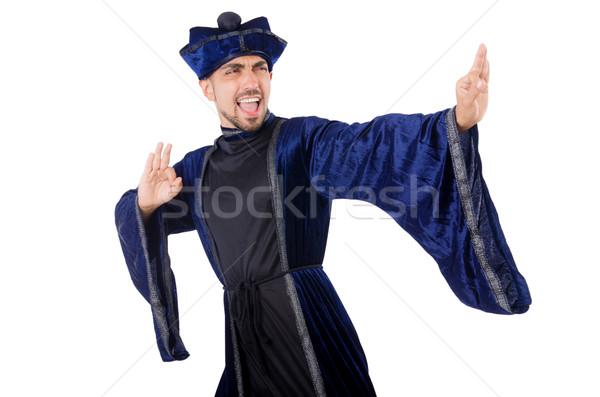 Oude vechtsporten meester Blauw kimono witte Stockfoto © Elnur