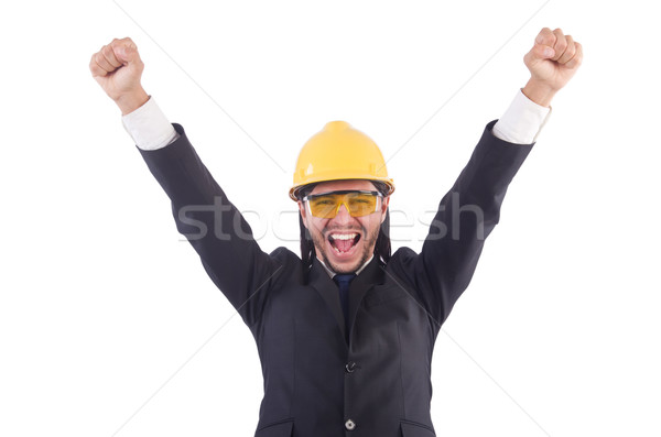 Businessman builder in hard hat isolated on white Stock photo © Elnur