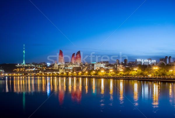 Nacht foto Azerbeidzjan stad zonsondergang zee Stockfoto © Elnur