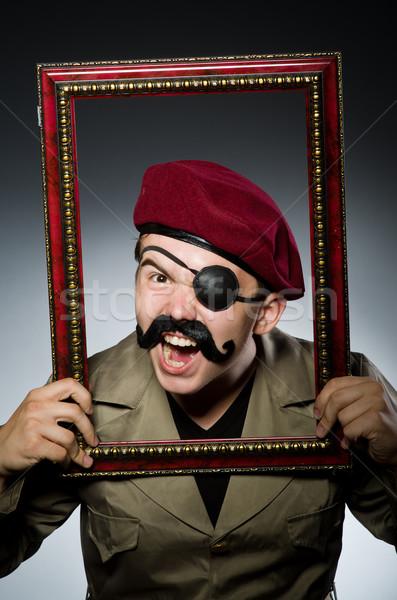 Funny żołnierz wojskowych człowiek zabawy vintage Zdjęcia stock © Elnur