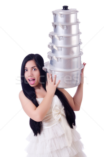 Woman cook isolated on the white background Stock photo © Elnur