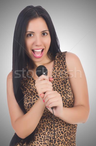 Kadın şarkıcı mikrofon beyaz kız parti Stok fotoğraf © Elnur