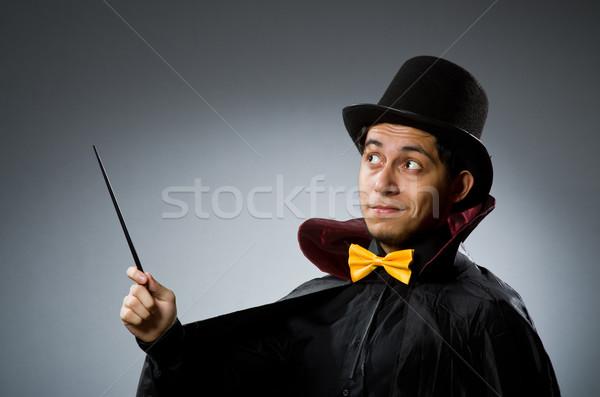 Funny magik człowiek hat strony uśmiech Zdjęcia stock © Elnur