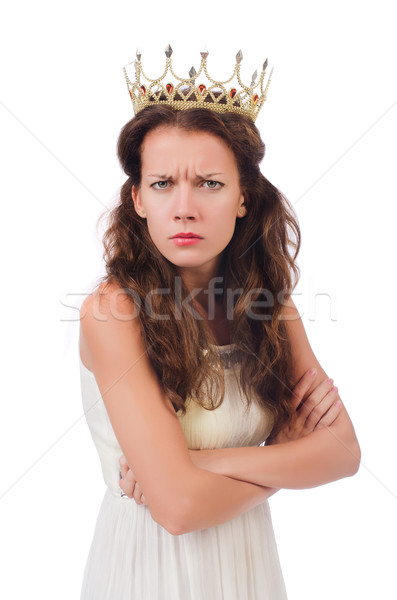 Girl in white dress and crown isolated on white Stock photo © Elnur