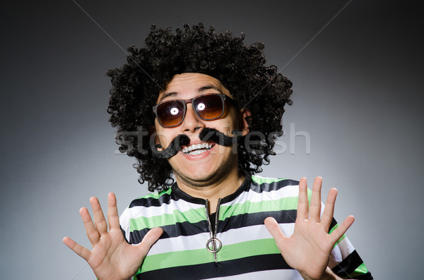 Drôle homme afro coiffure isolé blanche Photo stock © Elnur