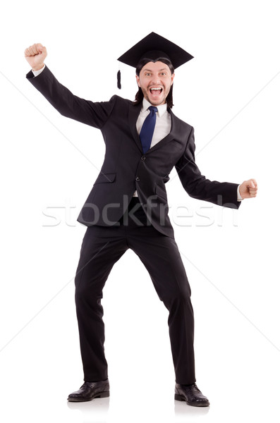 Young male student graduated from high school on white Stock photo © Elnur