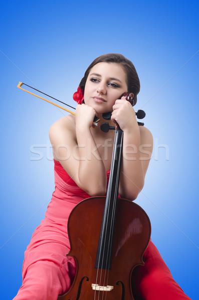 Genç kız keman beyaz kadın konser ses Stok fotoğraf © Elnur