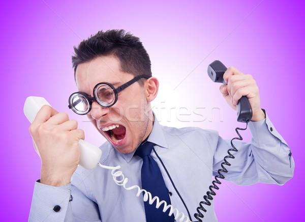 Crazy man with phone on white Stock photo © Elnur
