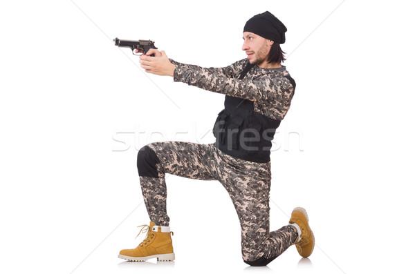 Caucasian soldier with handgun isolated on white Stock photo © Elnur