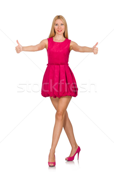 Stock photo: Young woman in pink dress isolated on white
