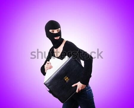 Bűnöző fegyver gradiens nő maszk fehér Stock fotó © Elnur