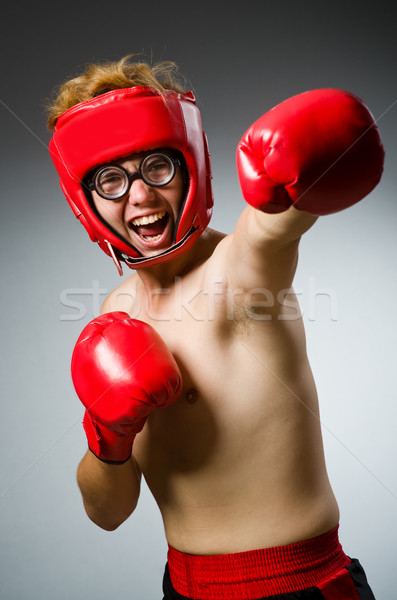 Divertente nerd boxer sport mano uomo Foto d'archivio © Elnur