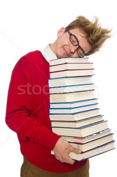Egyetemi hallgató könyv izolált fehér szem boldog Stock fotó © Elnur