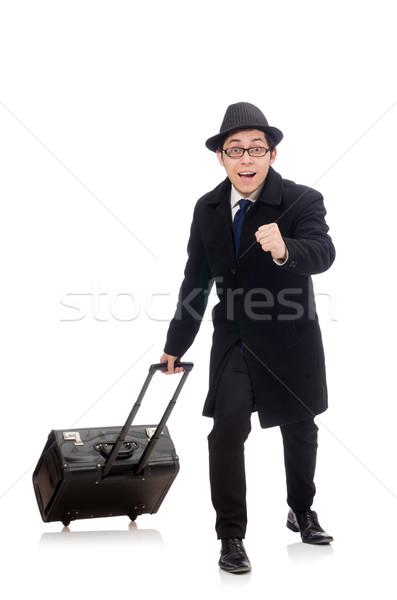 Jonge man zakken geïsoleerd witte man Stockfoto © Elnur