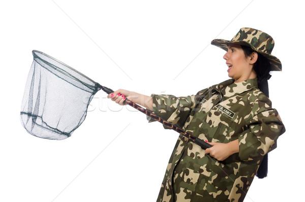 Femme militaire vêtements net printemps sourire Photo stock © Elnur