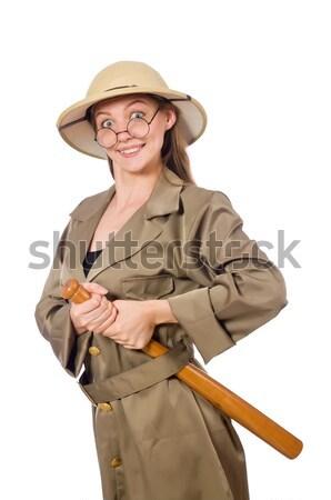 Stockfoto: Grappig · man · mes · geïsoleerd · witte · pistool