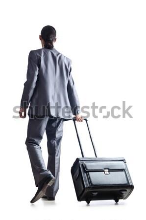 молодым человеком Hat сумочка изолированный белый бизнеса Сток-фото © Elnur