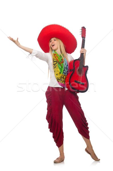 Mulher guitarra sombrero música festa Foto stock © Elnur