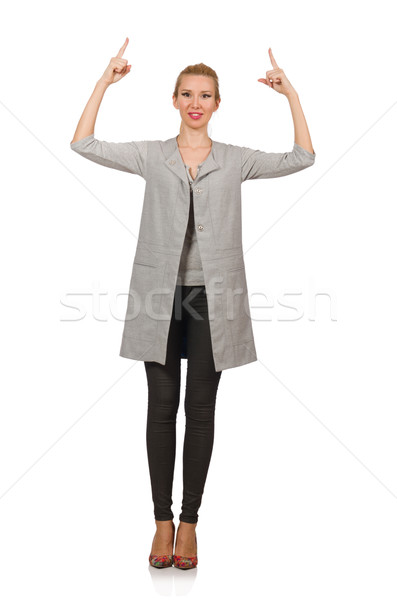 Mulher bonita cinza blusa isolado branco mulher Foto stock © Elnur