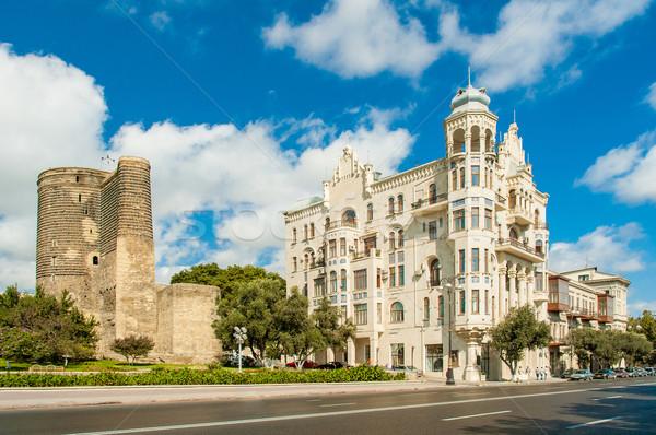 ősi hajadon torony Azerbajdzsán hotel építészet Stock fotó © Elnur