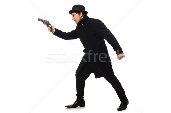 молодым человеком пушки изолированный белый стороны человека Сток-фото © Elnur
