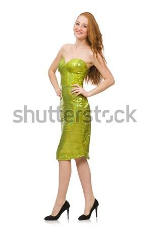Vörös haj lány pezsgő zöld ruha izolált Stock fotó © Elnur