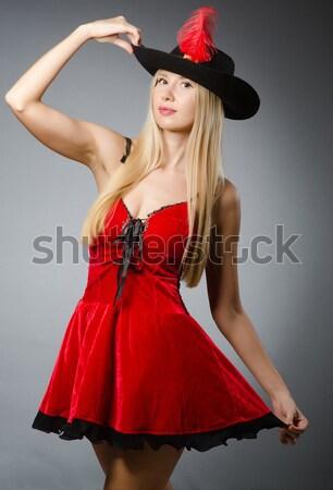 Kobieta taniec czerwona sukienka muzyki sexy dance Zdjęcia stock © Elnur