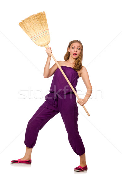Housewife with broom isolated on white Stock photo © Elnur