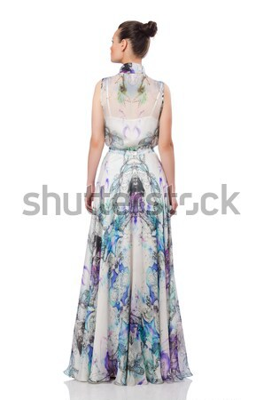 Beautiful girl in elegant long dress isolated on white Stock photo © Elnur