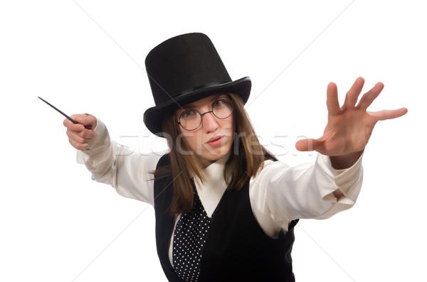 Kobieta magik odizolowany biały retro funny Zdjęcia stock © Elnur