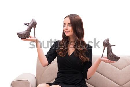Kobieta trudny wyboru buty domu uśmiech Zdjęcia stock © Elnur