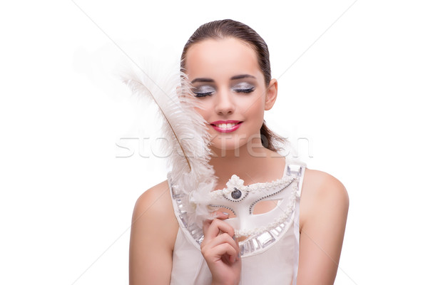 Young woman with carnival mask isolated on white Stock photo © Elnur