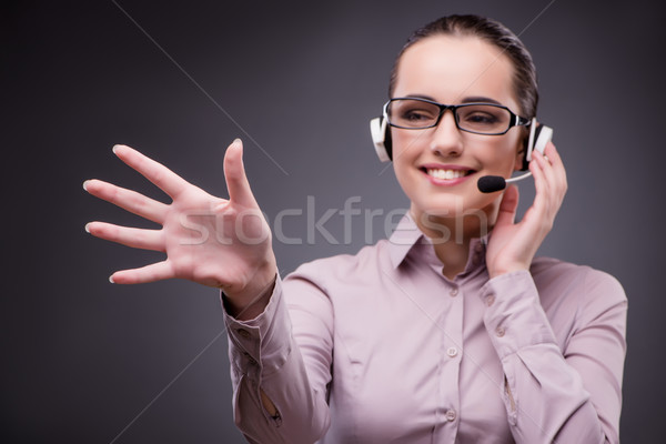The businesswoman pressing virtual button in business concept Stock photo © Elnur