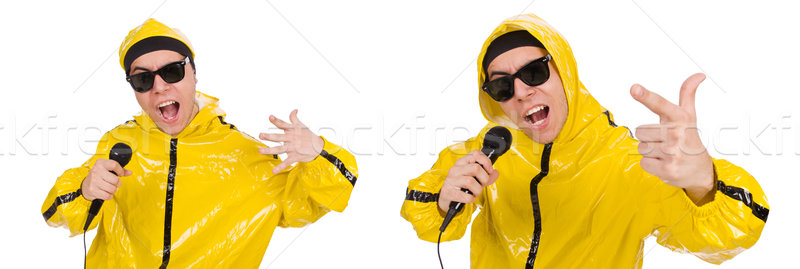 Funny performer with mic isolated on the white Stock photo © Elnur