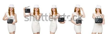 Foto stock: Mulher · jovem · filme · conselho · branco · menina · arte