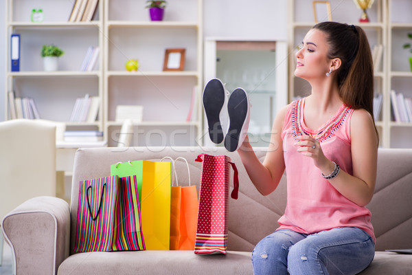 Young woman after shopping with bags Stock photo © Elnur